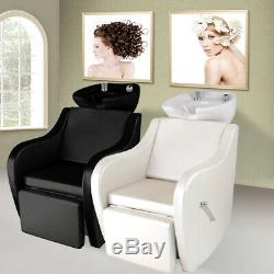 Sink Salon Backwash Chair Ceramic Basin Shampoo Bed Unit For Hairdressing Beauty