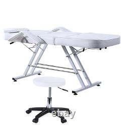 White Beauty Salon Bed Stool Set Tattoo Facial Therapy Couch Bed Massage Chair