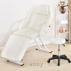 White Beauty Salon Massage Recliner Table & Chair Stool Tattoo Therapy Bed UK