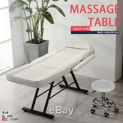 White Massage Table Chair Tattoo Salon Beauty Therapy SPA Couch Bed with Stool