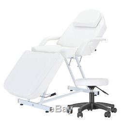 White Massage Table PU leather Beauty Salon Bed Therapy Couch Chair + Stool Set