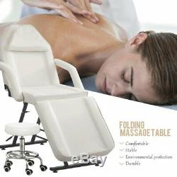 White Massage Table Stool Included Beauty Salon Bed Chair Treatment Tattoo Couch