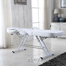 White Recliner Beauty Salon Massage Table Hair Treatment Tatto Bed Stool Chair